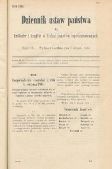 Dziennik Ustaw Państwa dla Królestw i Krajów w Radzie Państwa Reprezentowanych. 1914, nr110