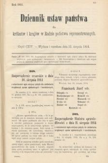 Dziennik Ustaw Państwa dla Królestw i Krajów w Radzie Państwa Reprezentowanych. 1914, nr114