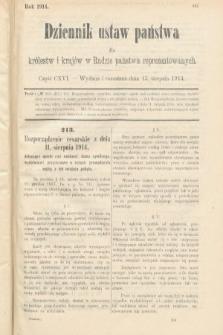 Dziennik Ustaw Państwa dla Królestw i Krajów w Radzie Państwa Reprezentowanych. 1914, nr116