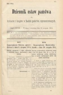 Dziennik Ustaw Państwa dla Królestw i Krajów w Radzie Państwa Reprezentowanych. 1914, nr118