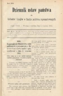 Dziennik Ustaw Państwa dla Królestw i Krajów w Radzie Państwa Reprezentowanych. 1914, nr130