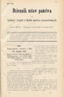 Dziennik Ustaw Państwa dla Królestw i Krajów w Radzie Państwa Reprezentowanych. 1914, nr131
