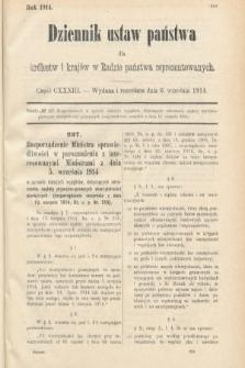 Dziennik Ustaw Państwa dla Królestw i Krajów w Radzie Państwa Reprezentowanych. 1914, nr133