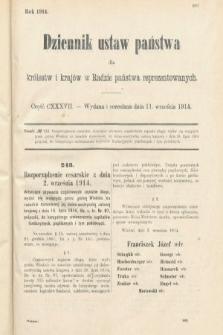 Dziennik Ustaw Państwa dla Królestw i Krajów w Radzie Państwa Reprezentowanych. 1914, nr137
