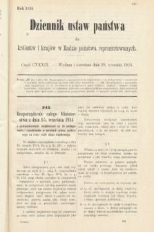 Dziennik Ustaw Państwa dla Królestw i Krajów w Radzie Państwa Reprezentowanych. 1914, nr139