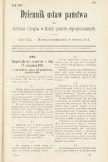 Dziennik Ustaw Państwa dla Królestw i Krajów w Radzie Państwa Reprezentowanych. 1914, nr140