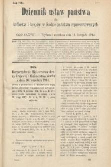 Dziennik Ustaw Państwa dla Królestw i Krajów w Radzie Państwa Reprezentowanych. 1914, nr168