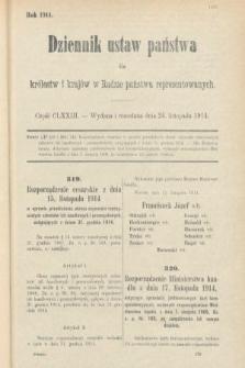 Dziennik Ustaw Państwa dla Królestw i Krajów w Radzie Państwa Reprezentowanych. 1914, nr173