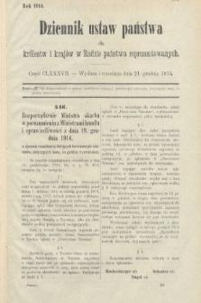 Dziennik Ustaw Państwa dla Królestw i Krajów w Radzie Państwa Reprezentowanych. 1914, nr187