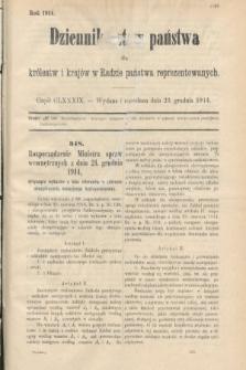Dziennik Ustaw Państwa dla Królestw i Krajów w Radzie Państwa Reprezentowanych. 1914, nr189
