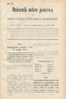 Dziennik Ustaw Państwa dla Królestw i Krajów w Radzie Państwa Reprezentowanych. 1914, nr192