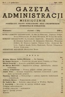 Gazeta Administracji : miesięcznik poświęcony prawu publicznemu oraz zagadnieniom administracji publicznej. 1948, nr1-2