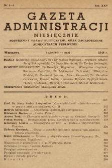 Gazeta Administracji : miesięcznik poświęcony prawu publicznemu oraz zagadnieniom administracji publicznej. 1948, nr4-5