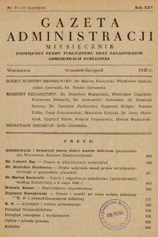 Gazeta Administracji : miesięcznik poświęcony prawu publicznemu oraz zagadnieniom administracji publicznej. 1948, nr9-11