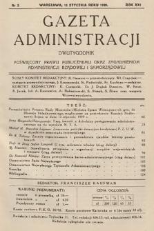 Gazeta Administracji : dwutygodnik poświęcony prawu publicznemu oraz zagadnieniom administracji rządowej i samorządowej. 1939, nr2