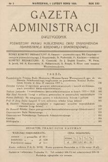 Gazeta Administracji : dwutygodnik poświęcony prawu publicznemu oraz zagadnieniom administracji rządowej i samorządowej. 1939, nr3
