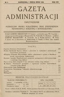 Gazeta Administracji : dwutygodnik poświęcony prawu publicznemu oraz zagadnieniom administracji rządowej i samorządowej. 1939, nr5