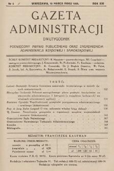 Gazeta Administracji : dwutygodnik poświęcony prawu publicznemu oraz zagadnieniom administracji rządowej i samorządowej. 1939, nr6