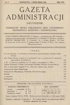 Gazeta Administracji : dwutygodnik poświęcony prawu publicznemu oraz zagadnieniom administracji rządowej i samorządowej. 1939, nr9