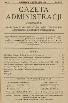 Gazeta Administracji : dwutygodnik poświęcony prawu publicznemu oraz zagadnieniom administracji rządowej i samorządowej. 1939, nr14