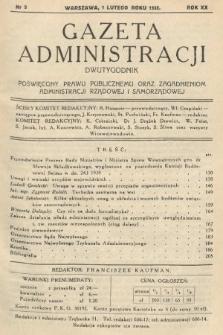 Gazeta Administracji : dwutygodnik poświęcony prawu publicznemu oraz zagadnieniom administracji rządowej i samorządowej. 1938, nr3