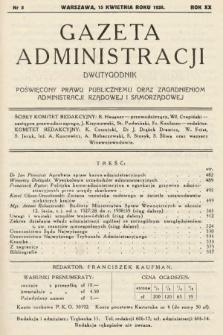 Gazeta Administracji : dwutygodnik poświęcony prawu publicznemu oraz zagadnieniom administracji rządowej i samorządowej. 1938, nr8