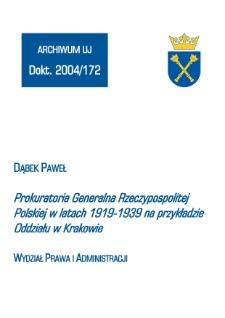 Prokuratoria Generalna Rzeczypospolitej Polskiej w latach 1919-1939 na przykładzie Oddziału w Krakowie