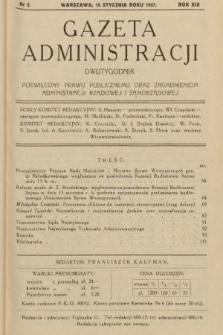 Gazeta Administracji : dwutygodnik poświęcony prawu publicznemu oraz zagadnieniom administracji rządowej i samorządowej. 1937, nr2