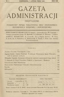 Gazeta Administracji : dwutygodnik poświęcony prawu publicznemu oraz zagadnieniom administracji rządowej i samorządowej. 1937, nr3