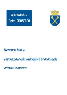 Sztuka poetycka Stanisława Grochowiaka
