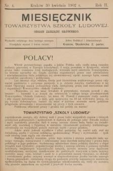 Miesięcznik Towarzystwa Szkoły Ludowej : organ Zarządu Głównego. 1902, nr4