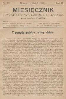Miesięcznik Towarzystwa Szkoły Ludowej : organ Zarządu Głównego. 1902, nr12