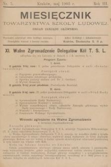 Miesięcznik Towarzystwa Szkoły Ludowej : organ Zarządu Głównego. 1903, nr5