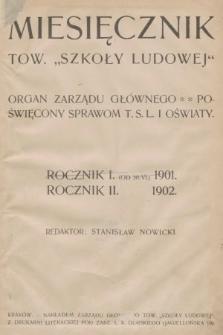 Miesięcznik Towarzystwa Szkoły Ludowej : organ Zarządu Głównego. 1902, spis rzeczy
