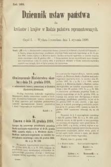 Dziennik Ustaw Państwa dla Królestw i Krajów w Radzie Państwa Reprezentowanych. 1899, cz.1
