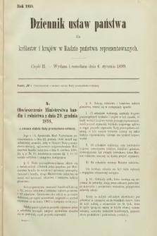 Dziennik Ustaw Państwa dla Królestw i Krajów w Radzie Państwa Reprezentowanych. 1899, cz.2