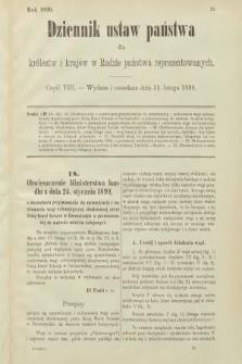 Dziennik Ustaw Państwa dla Królestw i Krajów w Radzie Państwa Reprezentowanych. 1899, cz.8