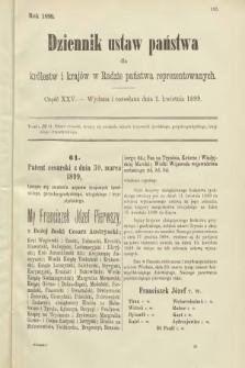 Dziennik Ustaw Państwa dla Królestw i Krajów w Radzie Państwa Reprezentowanych. 1899, cz.25