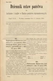 Dziennik Ustaw Państwa dla Królestw i Krajów w Radzie Państwa Reprezentowanych. 1899, cz.29