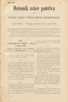 Dziennik Ustaw Państwa dla Królestw i Krajów w Radzie Państwa Reprezentowanych. 1899, cz.34