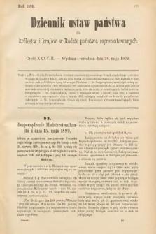 Dziennik Ustaw Państwa dla Królestw i Krajów w Radzie Państwa Reprezentowanych. 1899, cz.38