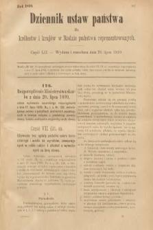 Dziennik Ustaw Państwa dla Królestw i Krajów w Radzie Państwa Reprezentowanych. 1899, cz.52