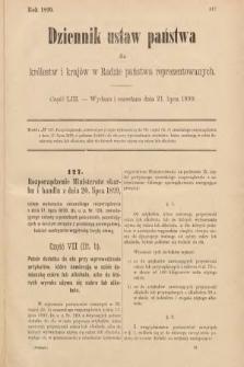 Dziennik Ustaw Państwa dla Królestw i Krajów w Radzie Państwa Reprezentowanych. 1899, cz.53