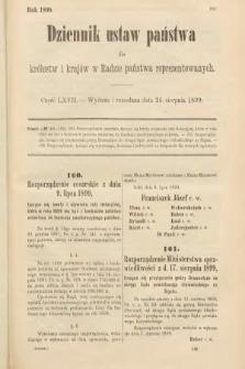 Dziennik Ustaw Państwa dla Królestw i Krajów w Radzie Państwa Reprezentowanych. 1899, cz.67