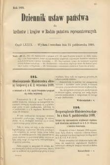 Dziennik Ustaw Państwa dla Królestw i Krajów w Radzie Państwa Reprezentowanych. 1899, cz.79