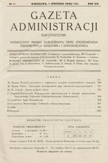 Gazeta Administracji : dwutygodnik poświęcony prawu publicznemu oraz zagadnieniom administracji rządowej i samorządowej. 1937, nr17