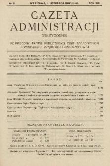 Gazeta Administracji : dwutygodnik poświęcony prawu publicznemu oraz zagadnieniom administracji rządowej i samorządowej. 1937, nr21