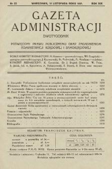 Gazeta Administracji : dwutygodnik poświęcony prawu publicznemu oraz zagadnieniom administracji rządowej i samorządowej. 1937, nr22