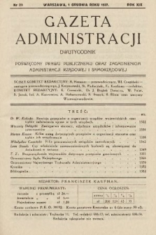 Gazeta Administracji : dwutygodnik poświęcony prawu publicznemu oraz zagadnieniom administracji rządowej i samorządowej. 1937, nr23