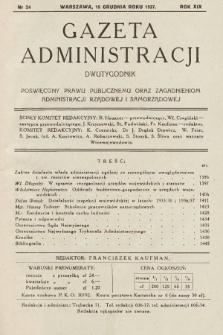 Gazeta Administracji : dwutygodnik poświęcony prawu publicznemu oraz zagadnieniom administracji rządowej i samorządowej. 1937, nr24